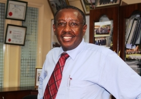 Eng. James Njoroge Mwangi at his office in Hass Plaza, Upper Hill