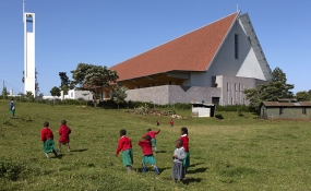 Children playing at the Kericho Sacred Heart Cathedral. It is the second largest cathedral built by Esteel contractors,Kenya